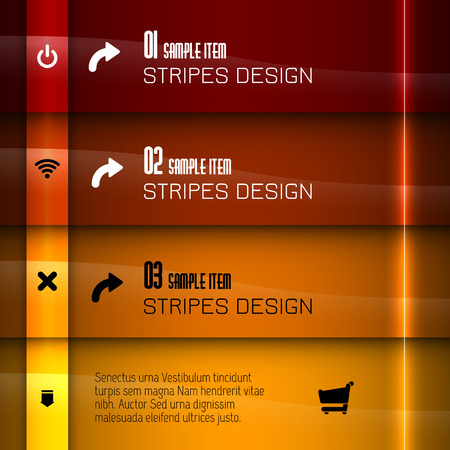 Glossy banners with glowing stripes. Modern layout. Red graphic elements.