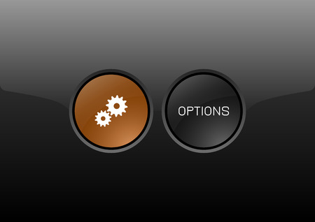glossy buttons: Two circles as modern glossy buttons OPTIONS. Vector icons.