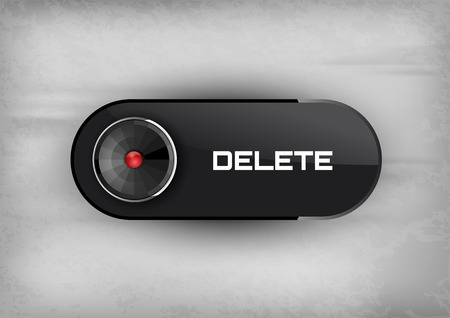 diode: Futuristic button DELETE with diode icons.