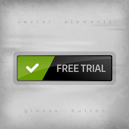free trial: Modern button FREE TRIAL with color space for icons Illustration