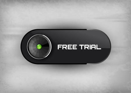 free trial: Futuristic button FREE TRIAL with diod icons. Illustration