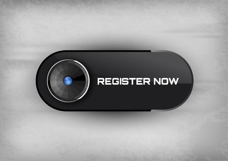 color registration: Simple button REGISTER NOW with color space for icons