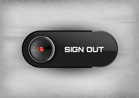log off: Futuristic button SIGN OUT with diode icons. Illustration