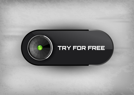 Futuristic button TRY FOR FREE with diode icons.