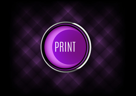 inkjet: Chrome button PRINT with plastic elements. Vector icons.
