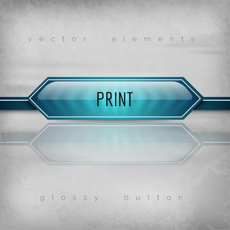 laser printer: Modern plastic button PRINT with sharp corners