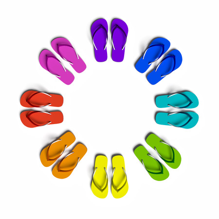isolated on yellow: Rainbow flip flops in the circle. Isolated on the white.