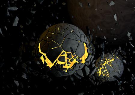 big break: Exploding planet in the universe. 3D rendered fantasy scene. Stock Photo