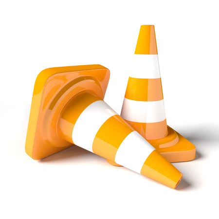 Traffic cones on the white background. 3D rendered image.
