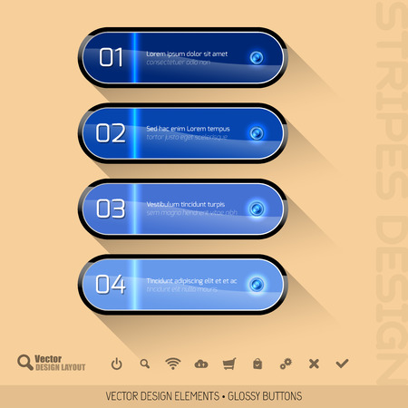 glossy buttons: Modern design layout. Four glossy buttons. Vector elements.