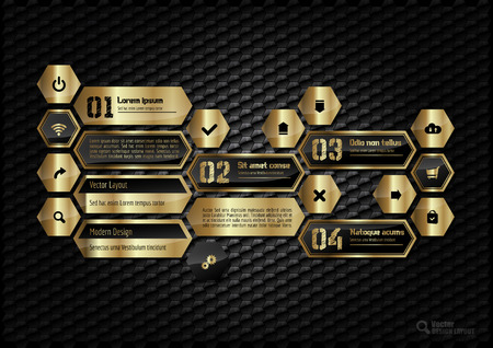 menu buttons: Gold hexagons layout with icons, symbols and sample text. Illustration