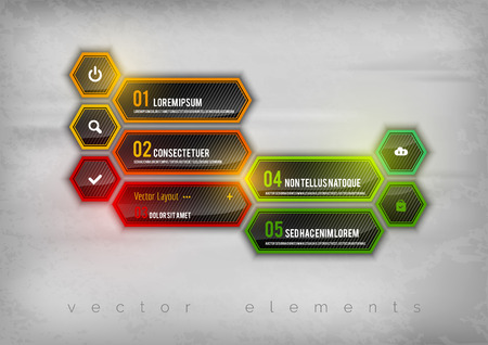 brillant: Abstract shining layout as colorful hexagons. Modern infographics design elements.