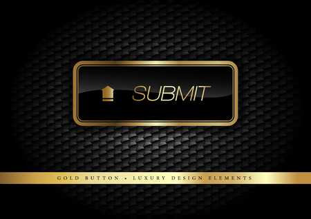 administer: Gold button on the luxury black background. More golden buttons in this style on my portfolio. Illustration
