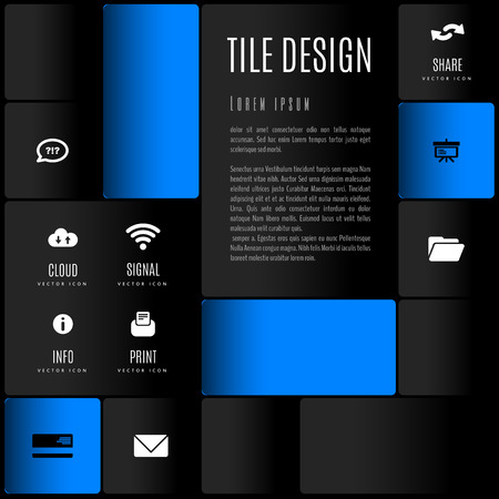 flyer layout: Modern layout, flyer - white, black and color squares with set of  icons and symbols.