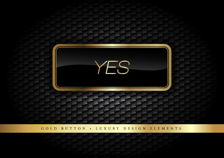 Gold button on the luxury black background. More golden buttons in this style on my portfolio. Ilustracja