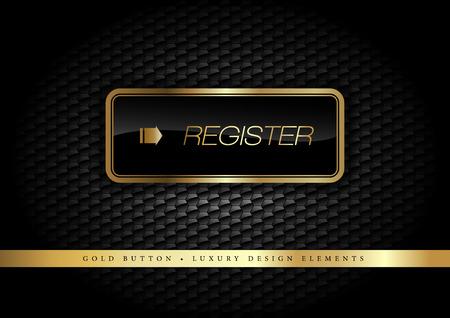 Gold button on the luxury black background. More golden buttons in this style on my portfolio. Vector