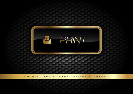 Gold button on the luxury black background. More golden buttons in this style on my portfolio. Ilustração