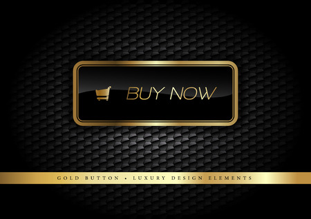Gold button on the luxury black background. More golden buttons in this style on my portfolio. Illustration