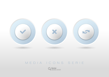 rounded: Three simple rounded buttons with business icons and symbols. Vector design elements.