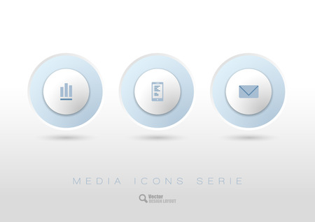 progress bar: Three simple rounded buttons with business icons and symbols. Vector design elements.