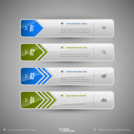 Design elements for infographics, layout, web pages... Modern symbols on the elegant tabs.