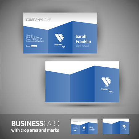 blue card: Business card template  with crop area and marks. Elegant vector illustration.