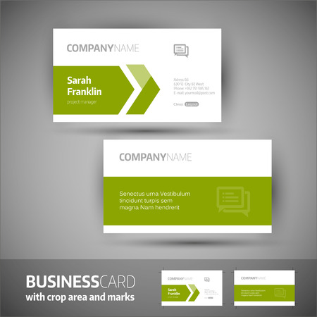 call card: Business card template  with crop area and marks. Elegant vector illustration.