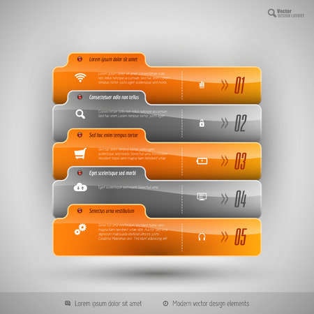 business education: Modern business tabs for infographics. Ttemplate for web design, presentation, education, banner, brochure and flyer. Illustration