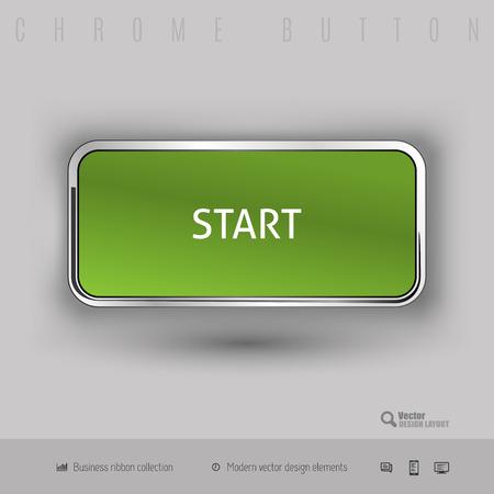 starting: Chrome button start with color plastic inside. Elegant design elements. Illustration