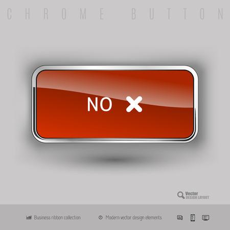 Chrome button no with color plastic inside. Elegant design elements.