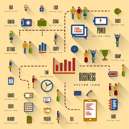 guide: Flat design illustration. Vector infographic concept with icons set and people. Business and trend of media.