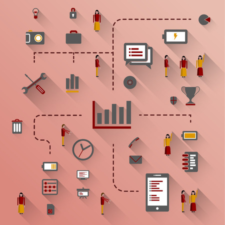 infomation: Flat design illustration. Vector infographic concept with icons set and people. Business and trend of media.