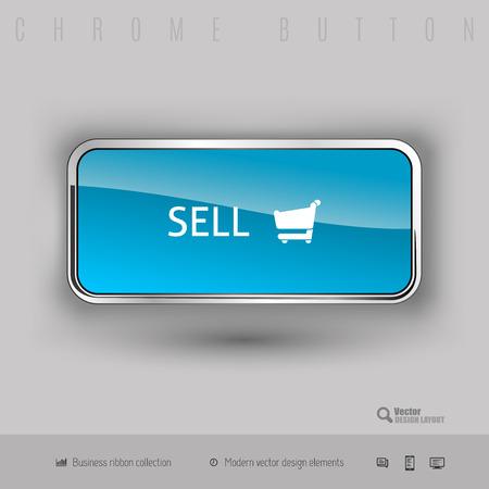 cromo: Botón Chrome vender con plástico de color interior. Elementos de diseño elegante.