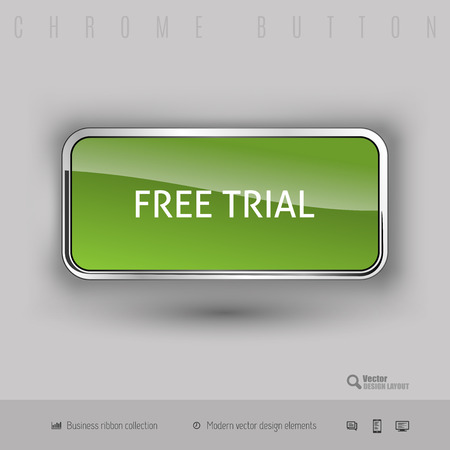 free trial: Chrome button free trial with color plastic inside. Elegant design elements.
