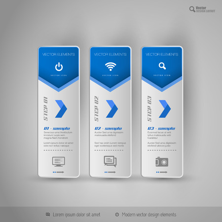 web design background: Vector tabs on the gray background. Design elements for business flyer, layout and web pages. Illustration