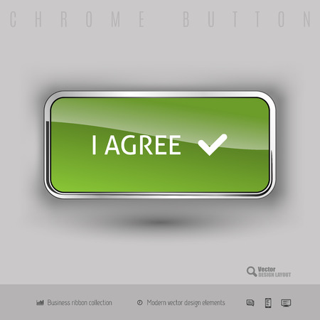 approval button: Chrome button I agree with color plastic inside. Elegant design elements. Illustration