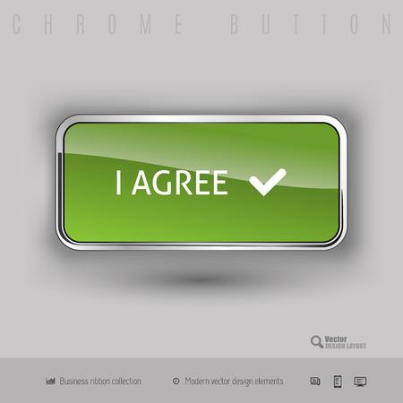 agree: Chrome button I agree with color plastic inside. Elegant design elements. Illustration