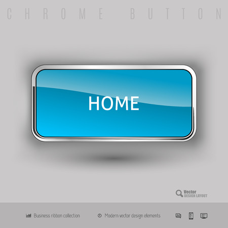 3d button: Chrome button home with color plastic inside. Elegant design elements.