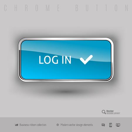 log in: Chrome button log in with color plastic inside. Elegant design elements.