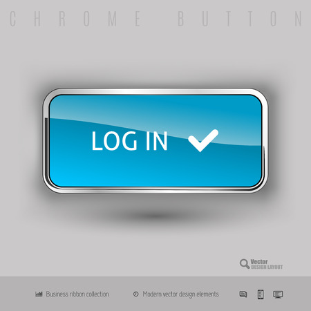 Chrome button log in with color plastic inside. Elegant design elements.