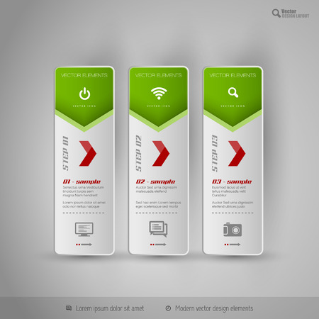 tabs: Vector tabs on the gray background. Design elements for business flyer, layout and web pages. Illustration