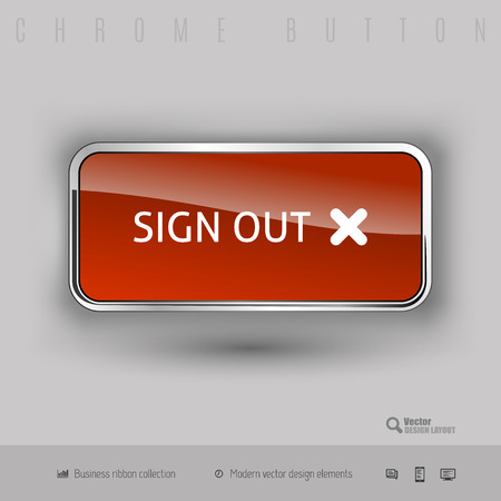 sign out: Chrome button sign out with color plastic inside. Elegant design elements. Illustration