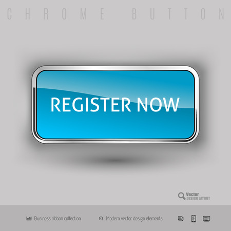 Chrome button register now with color plastic inside. Elegant design elements. Vector Illustration