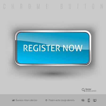 color registration: Chrome button register now with color plastic inside. Elegant design elements. Illustration