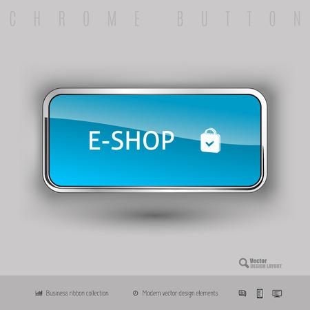 eshop: Chrome button e-shop with color plastic inside. Elegant design elements.