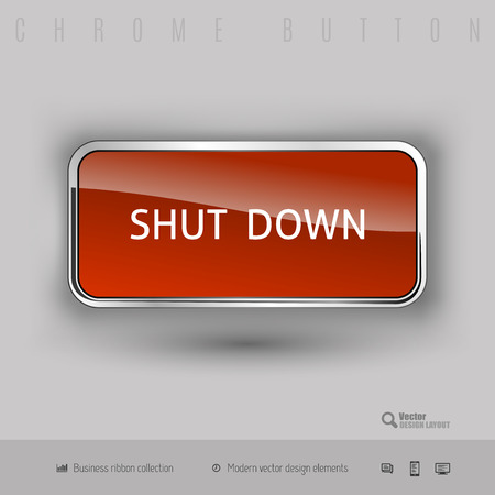 shut off: Chrome button shut down with color plastic inside. Elegant design elements. Illustration