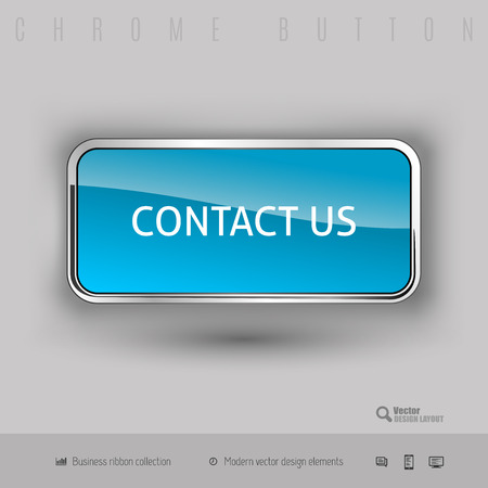 website buttons: Chrome button contact us with color plastic inside. Elegant design elements. Illustration