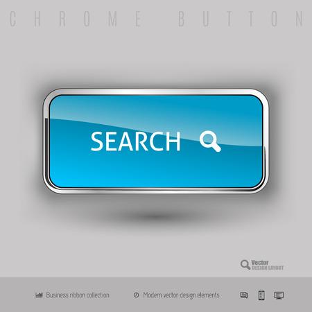 search button: Chrome button search with color plastic inside. Elegant design elements.