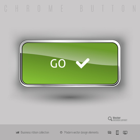 go inside: Chrome button go with color plastic inside. Elegant design elements.