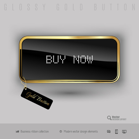 buy button: Gold button buy now with black glossy inside and modern pixel font. Luxury design elements.
